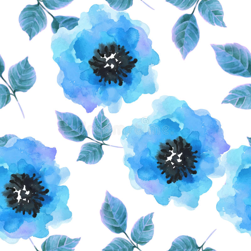 Watercolor flowers seamless pattern. vector illustration