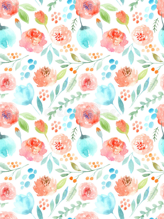 Watercolor flowers. Seamless pattern. Cute roses royalty free illustration