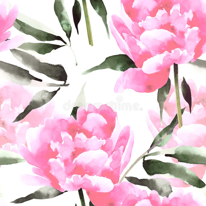 Watercolor flowers seamless pattern with peonis. royalty free illustration
