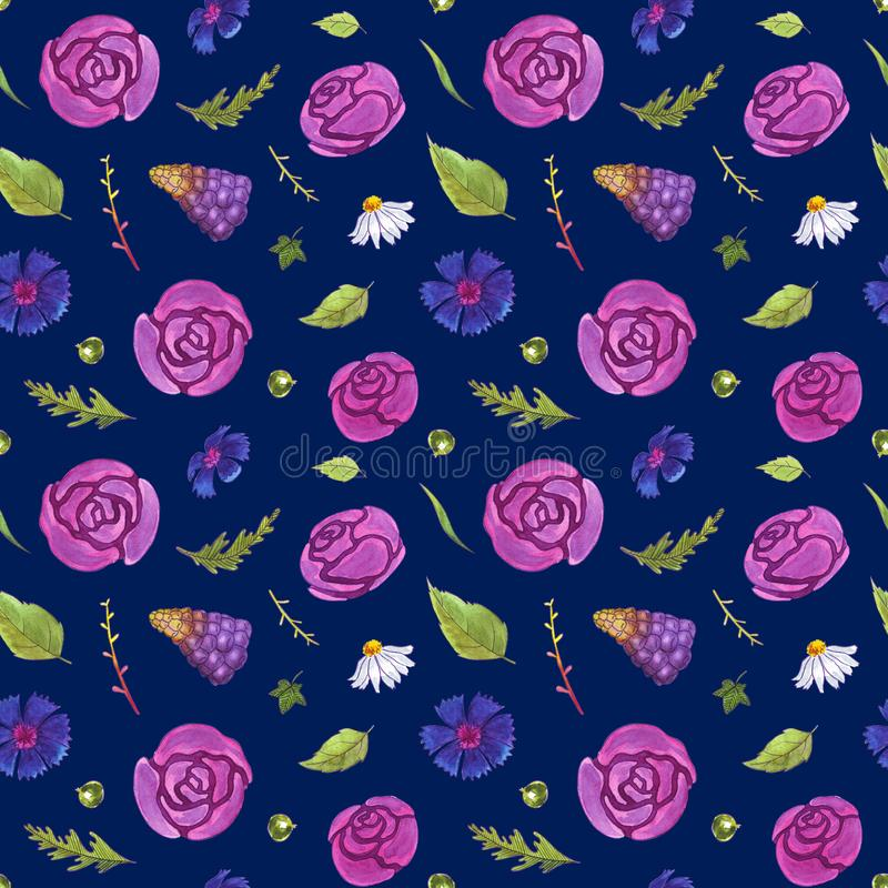 Watercolor flowers seamless pattern. Springtime. Flowers and leaves. Dark background stock image