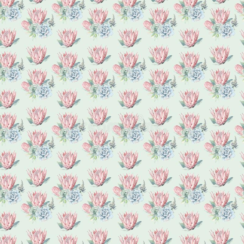Watercolor flowers seamless pattern. Watercolor decoration pattern. Vintage watecolor background. Perfect for wallpaper, fabric design, wrapping paper, digital vector illustration