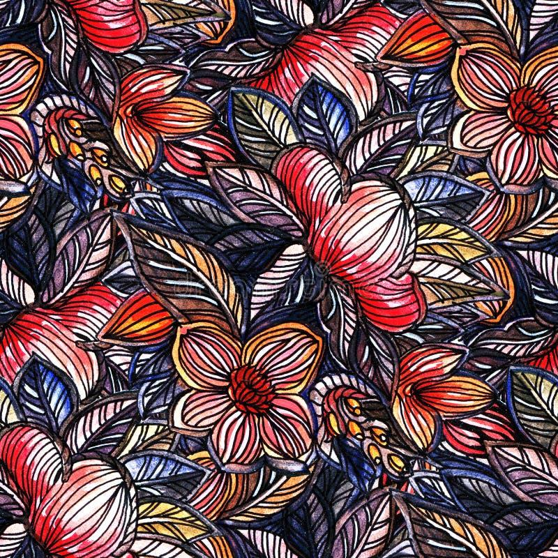 Watercolor flowers stock illustration