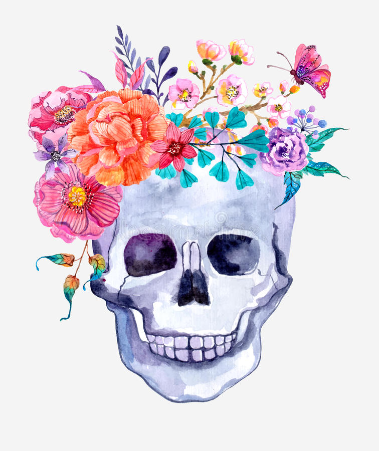 watercolor flowers and skull background stock illustration