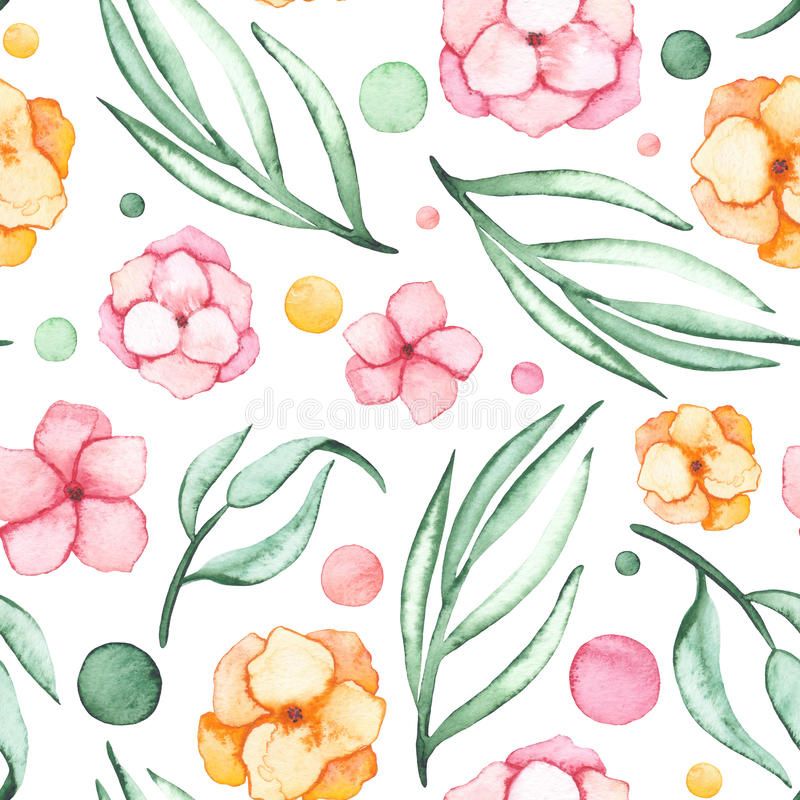 Watercolor Flowers, Spots And Light Green Leaves Seamless Pattern royalty free illustration