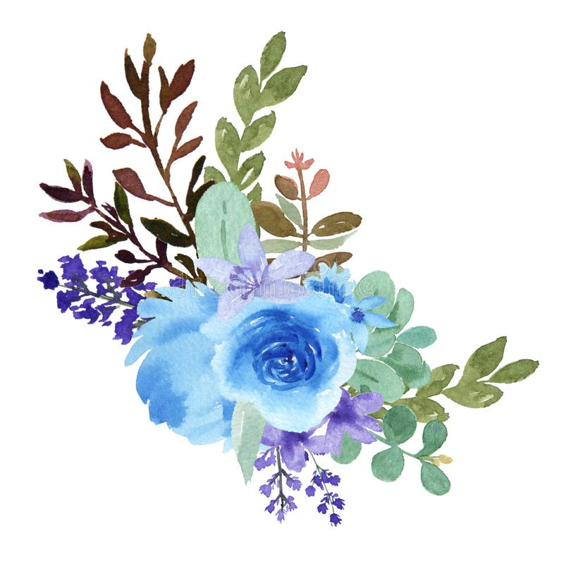 Watercolor flowers with text banner, lush flowers aquarelle hand painted isolated on white background. Design border for card, sav. E the date, wedding stock illustration