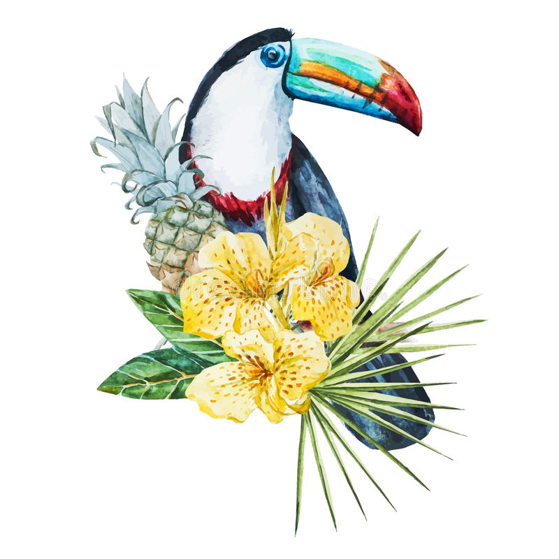 Watercolor flowers with toucan royalty free illustration
