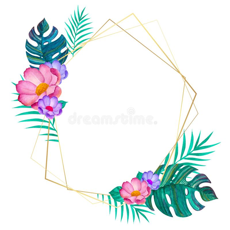 Watercolor flowers and tropical leaves. Geometric gold frame royalty free illustration
