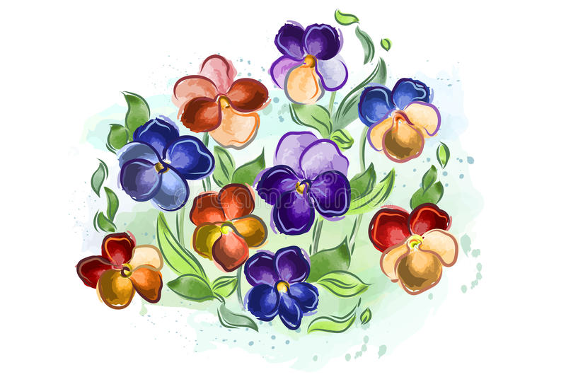 Watercolor flowers violets and pansy and leaves royalty free illustration