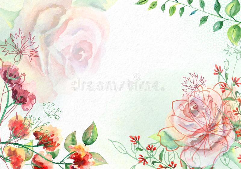 Watercolor flowers on white watercolor paper stock photo image of download watercolor flowers on white watercolor paper stock photo image of card celebration mightylinksfo