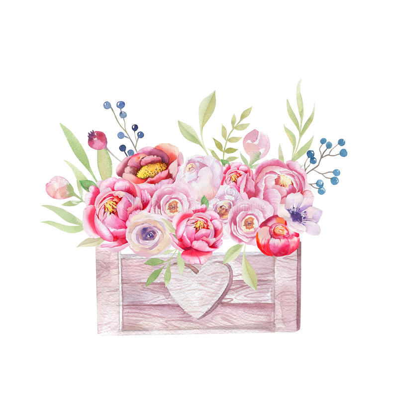 Watercolor flowers wooden box. Hand-drawn chic vintage garden ru royalty free illustration