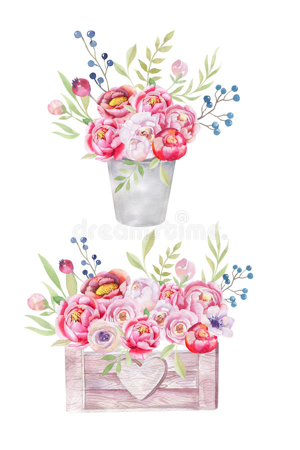 Watercolor flowers wooden box. Hand-drawn chic vintage garden ru royalty free stock photos