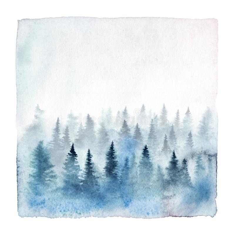 Watercolor foggy forest vector illustration