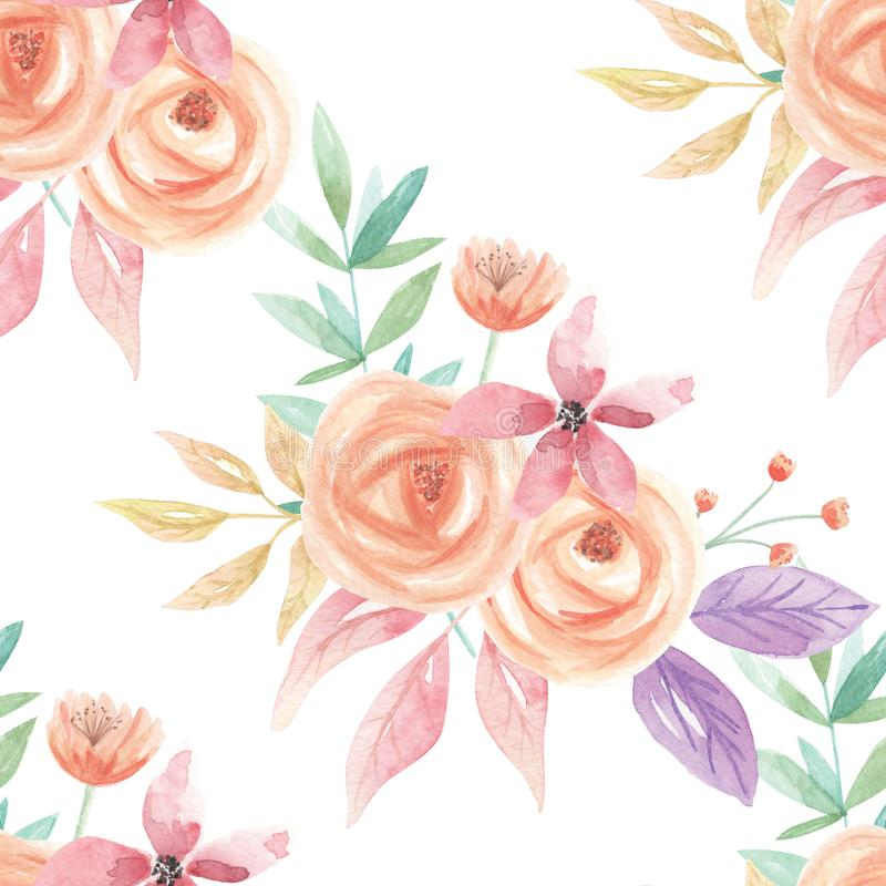 Watercolor Foliage Seamless Pattern Berries Summer Leaves Digital Papers Peach Lilac Flowers Floral. Hand Painted Watercolor leaves, flowers and berries in a royalty free illustration