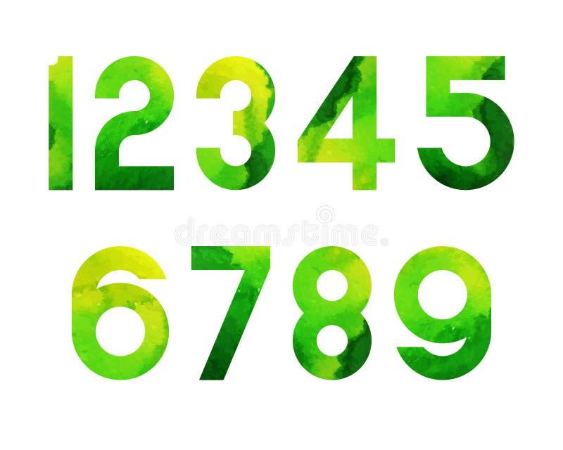 Watercolor Font Green-04 vector illustration