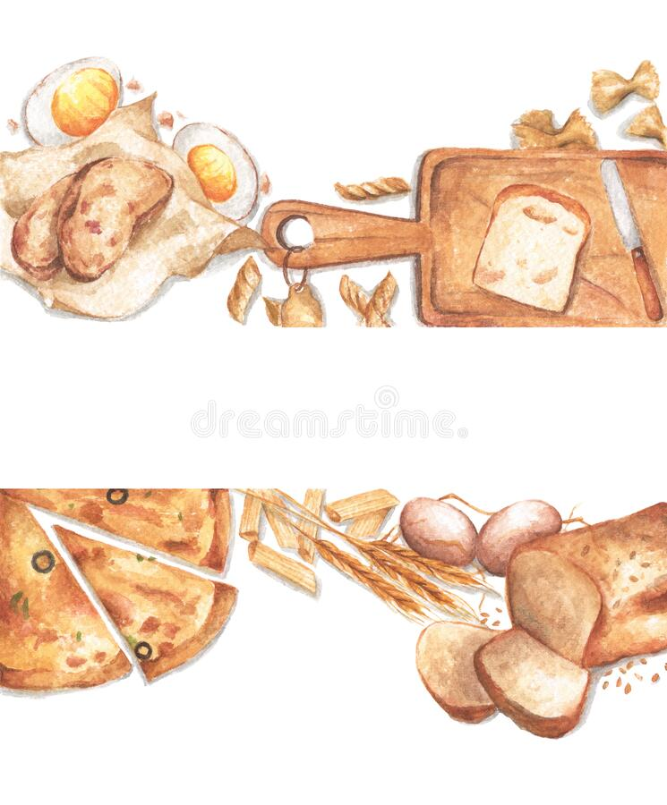 Watercolor food frame with copy space royalty free stock image