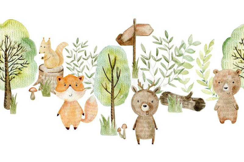 Watercolor forest border. Watercolor forest wildlife seamless border with animals. Cute cartoon characters royalty free illustration