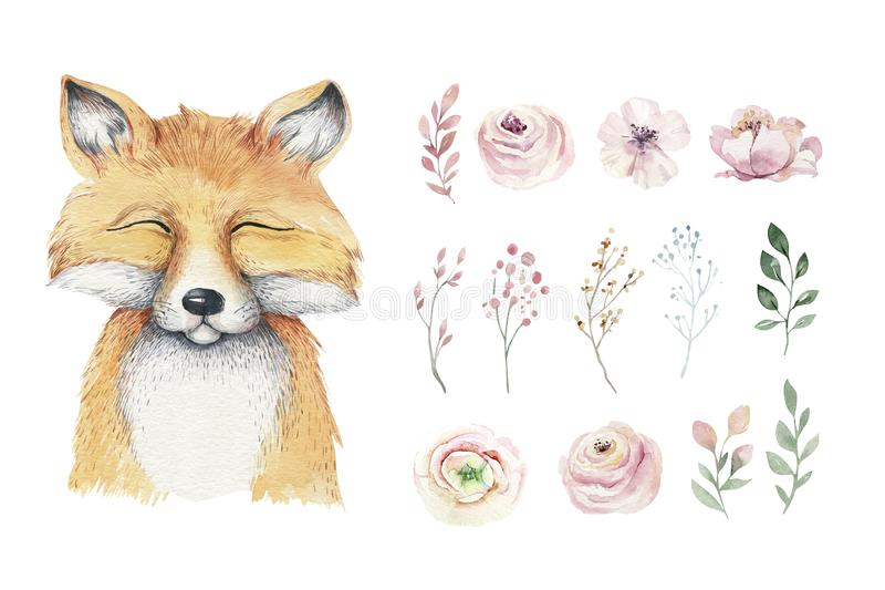 Watercolor forest cartoon isolated cute baby fox, animal with flowers. Nursery woodland illustration. Bohemian boho. Drawing for nursery poster vector illustration