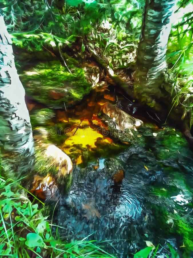 Watercolor forest landscape. Little creek, spring key royalty free illustration