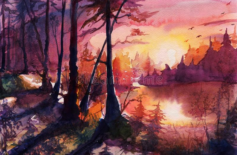 Watercolor forest landscape painting, beautiful abstract drawing art with sunset, sunrise, autumn, hand drawn fantasy art with nat stock illustration