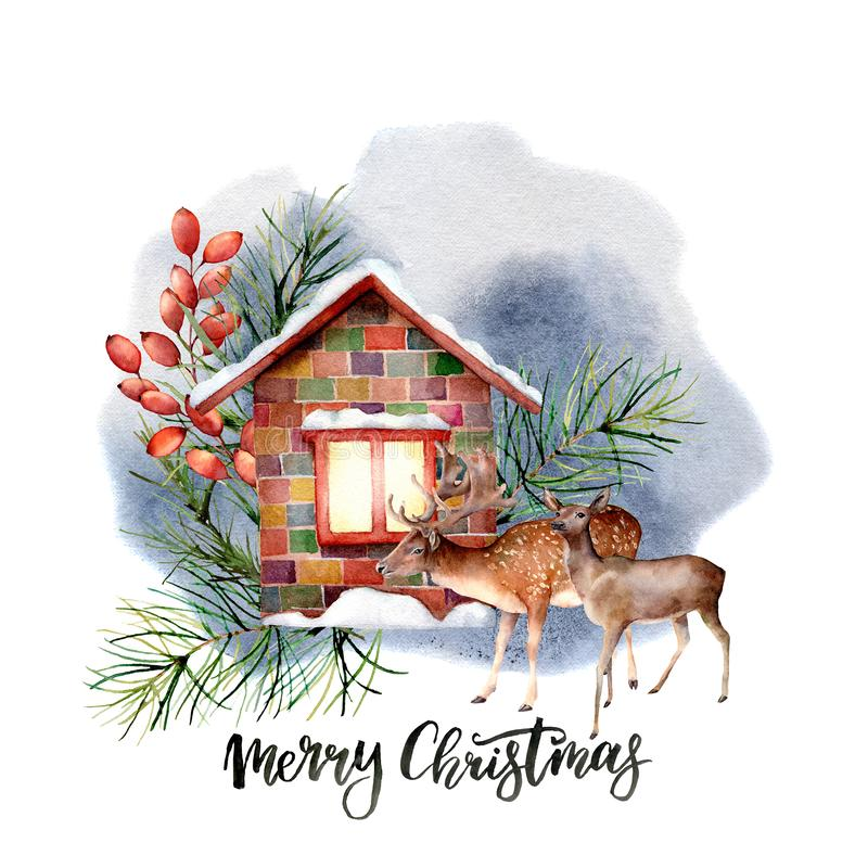 Watercolor forest landscape scene with Christmas lettering. Snowy house with floral decor and reindeers isolated on. White background. Hand painted vintage stock illustration