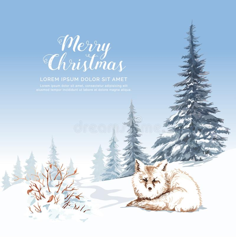 Watercolor fox on snow dry branches and pine tree. royalty free illustration
