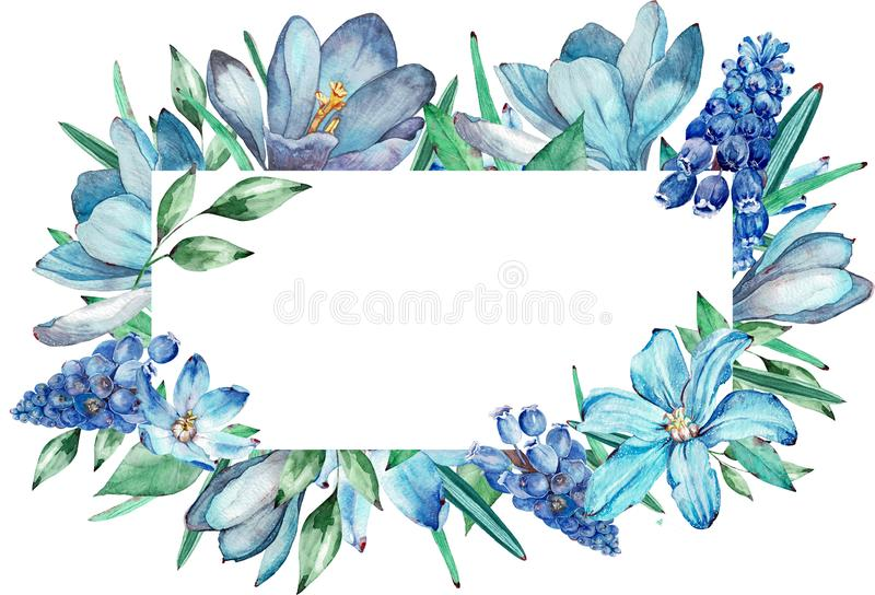 Watercolor frame of blue spring flowers. stock image