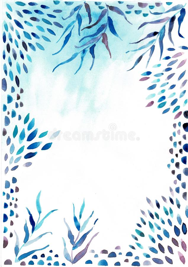 Watercolor frame border.Texture with greens,branch,leaves,tropical leaves,foliage.Perfect for wedding,invitations stock illustration