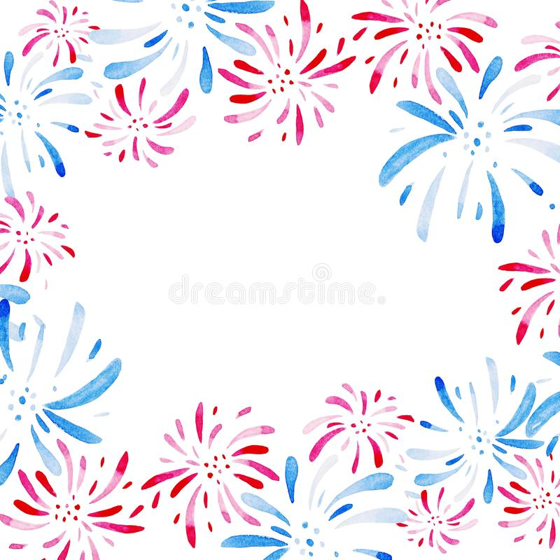 Watercolor frame for Fireworks festival. Holidays, 4th of July, United Stated independence day. Design for print, card. Banner stock illustration