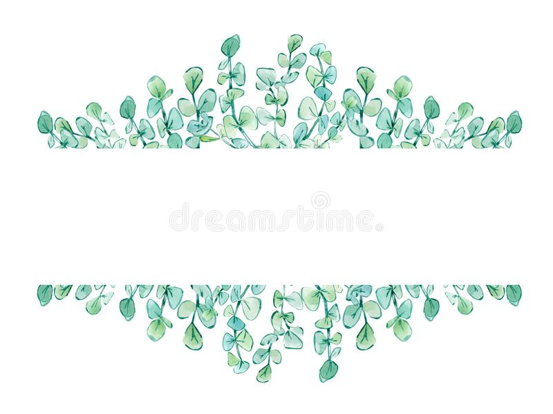 Watercolor frame floral with eucalyptus branches stock illustration