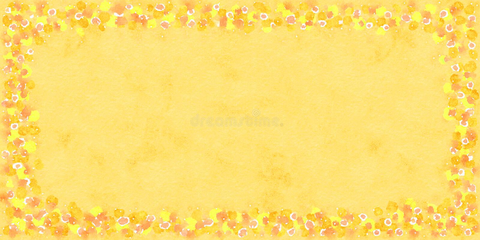 Watercolor frame of orange, yellow and white round elements. vector illustration
