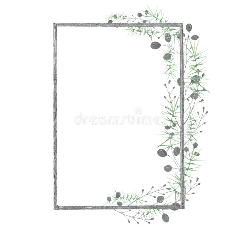 Watercolor frame with silver, green, purple, violet leaves and branches on a white background. Ideal for cards and invitations. vector illustration