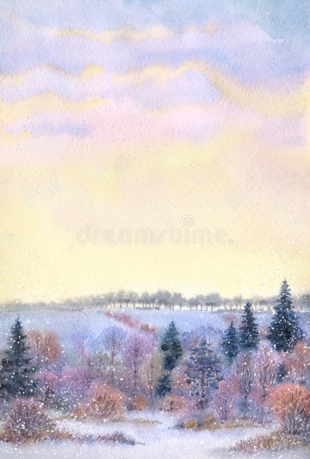 Watercolor frame. Sunset over the winter valley vector illustration