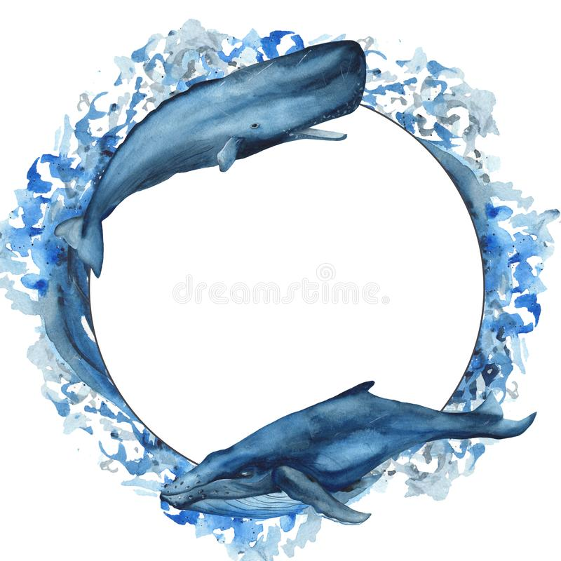 Watercolor frame with whale, sperm whale, narwhal, fish. Marine template with water splashes for postcard, invitation, logo, quote royalty free illustration