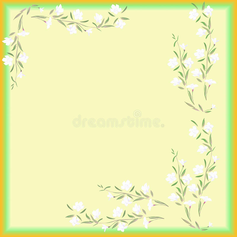 Watercolor frame white flowers on a yellow background royalty free stock images