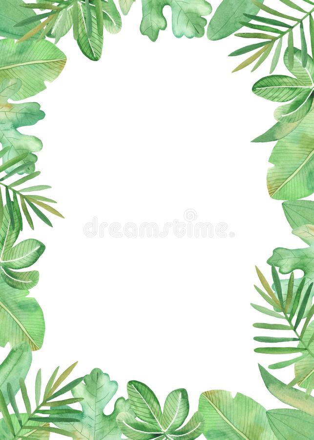 Watercolor frame, wreath with tropical plants and flowers. vector illustration