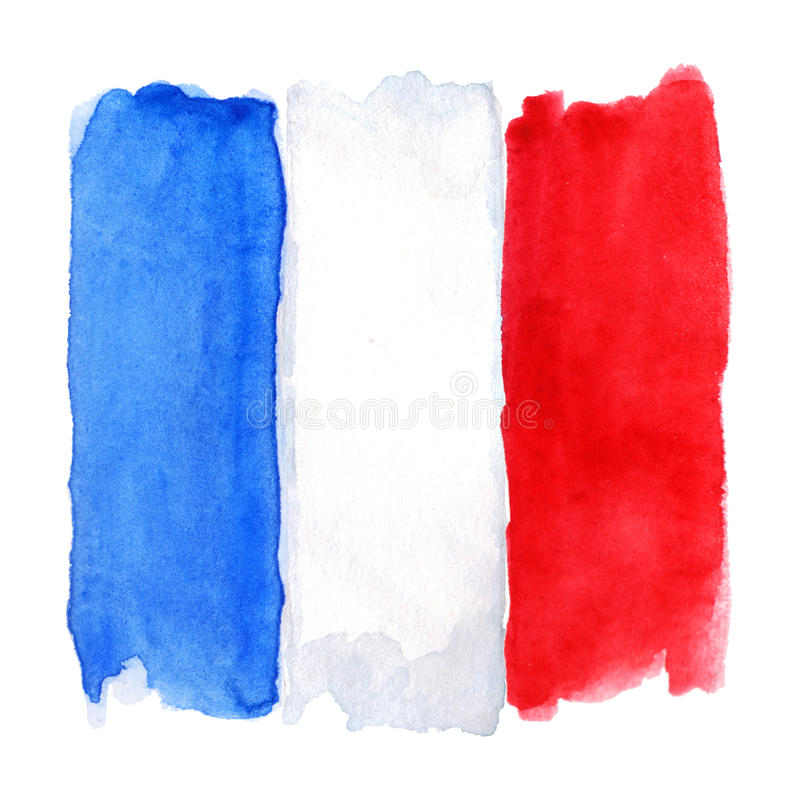 Watercolor France French flag 3 three color isolated vector illustration