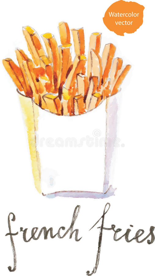 Watercolor french fries vector illustration