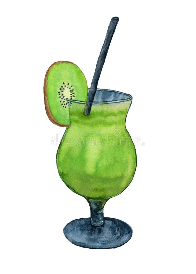 Watercolor fresh cocktail with kiwi fruit. Isolated illustration for menu decoration or fashion print design. stock illustration
