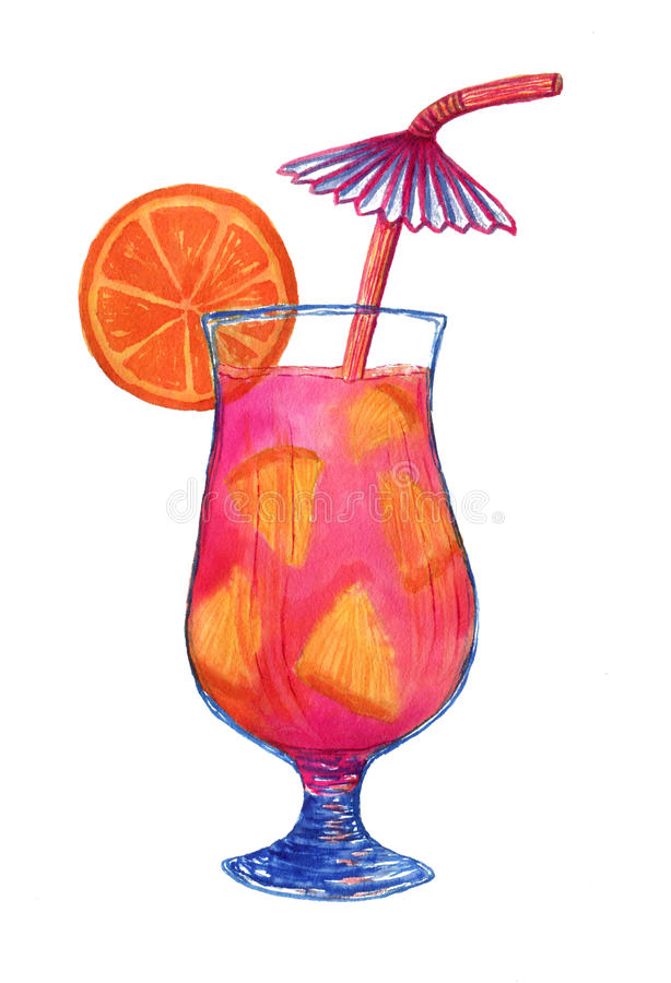 Watercolor fresh cocktail with orange fruit. Isolated illustration for menu decoration or fashion print design. stock illustration