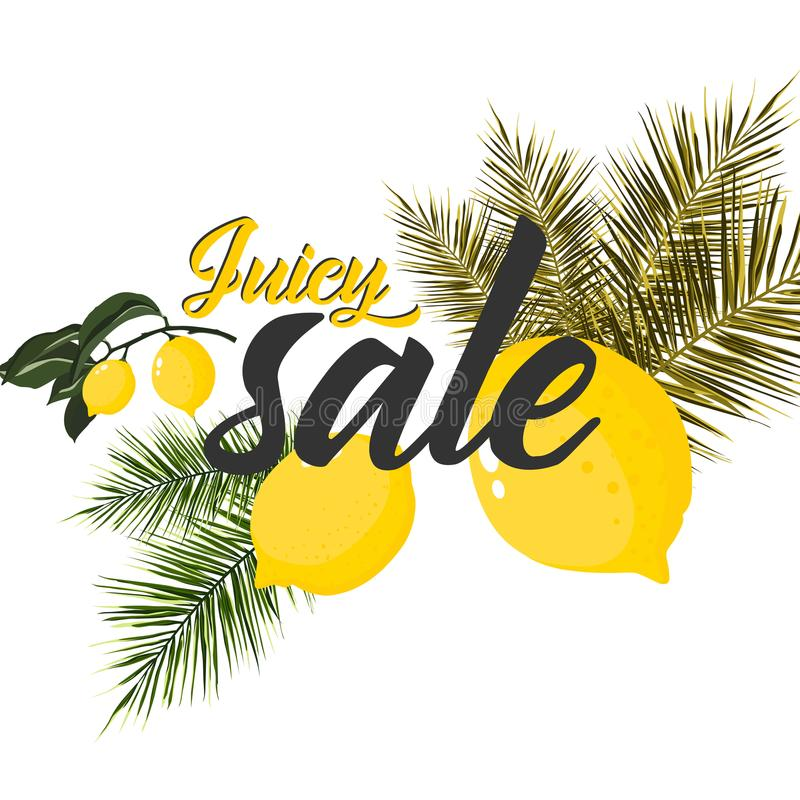 Summer Sale Poster With Lemon, Vector Illustration vector illustration