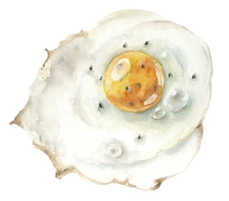 Watercolor fried eggs stock illustration