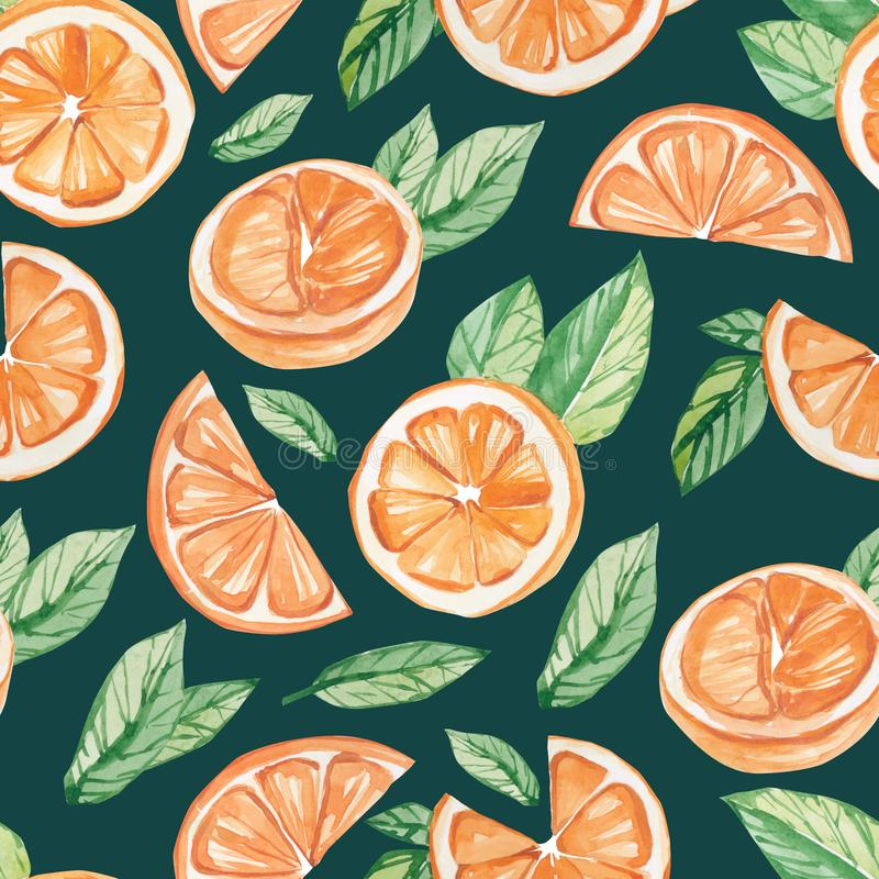 Watercolor fruit pattern orange, summer print for the textile fabric, wallpaper, poster background. Social media template vector illustration