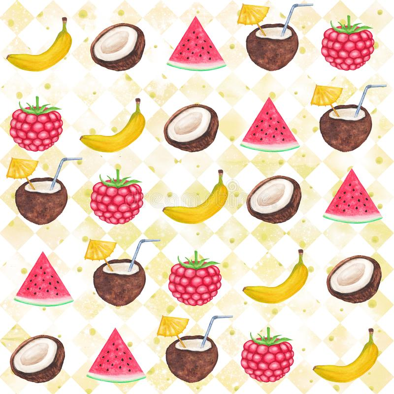 Watercolor Fruit pattern. Tropical illustration. Watercolor Fruit Background. Watercolor banana, coconut, watermelon, berry seamless pattern. yellow square royalty free illustration