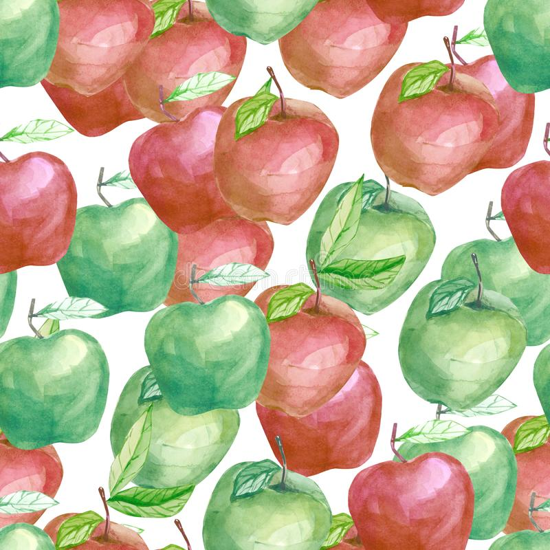 Watercolor fruit pattern tutti fruity apple, summer print for the textile fabric, wallpaper vector illustration