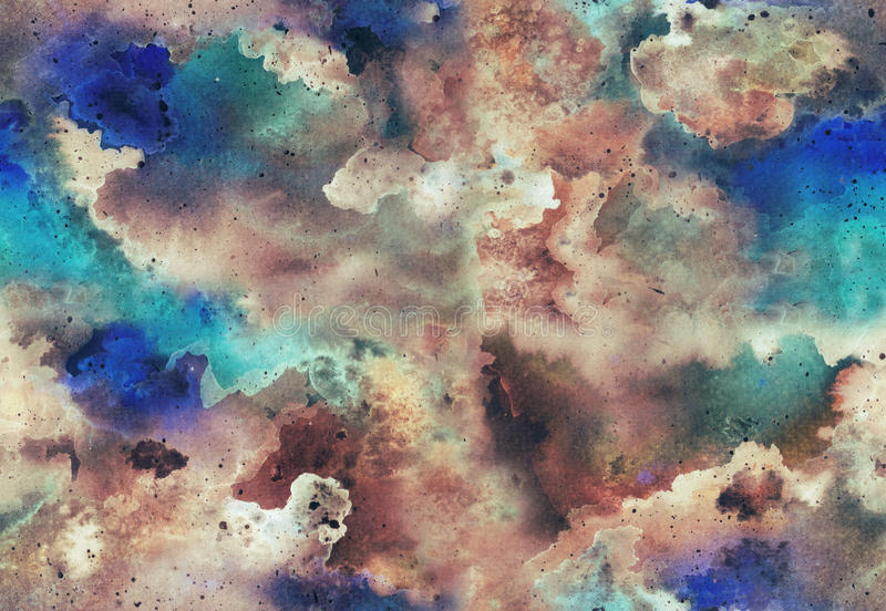Watercolor galaxy seamless pattern. Hand painted Watercolor bright seamless pattern with glow galaxy, space. Abstract background royalty free illustration