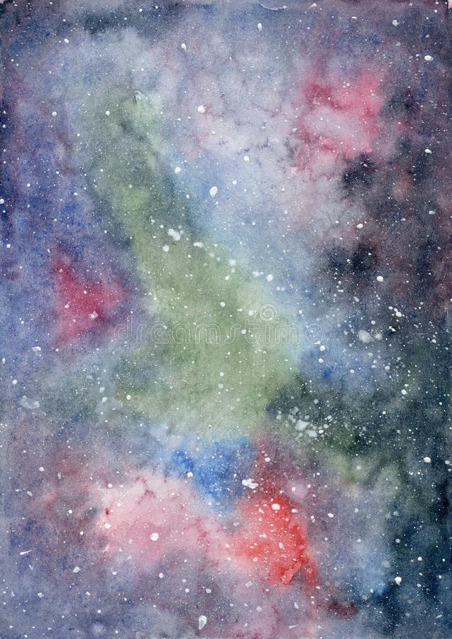 Watercolor space background with a colorful galaxy royalty free illustration