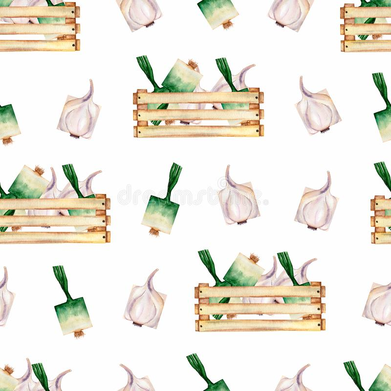 Watercolor garden  organic vegetables seamless pattern and wooden box. Hand drawn background with wooden box,green onion and royalty free illustration