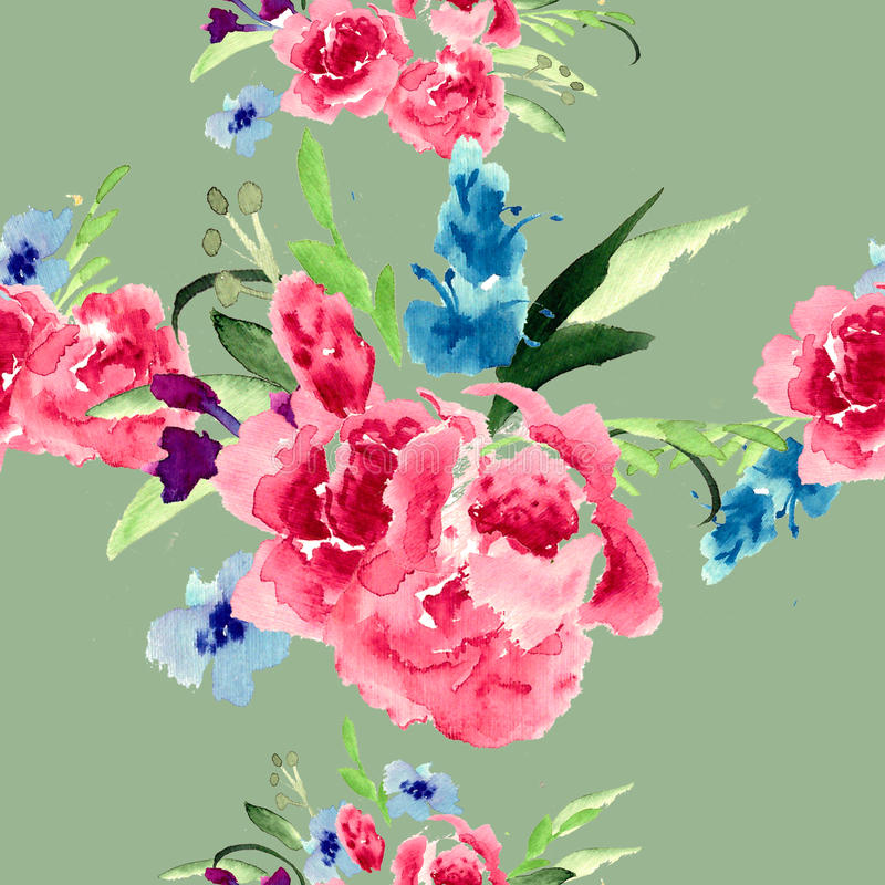Watercolor garden and wild red flowers. Watercolor Floral bouquet illustration royalty free illustration