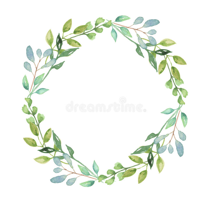 Download Watercolor Garland Summer Greenery Wreath Wedding Leaves Green Stock Illustration
