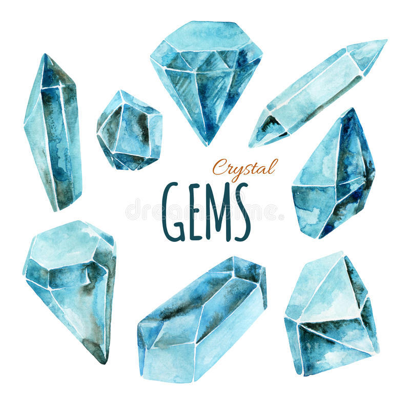 Watercolor gems collection royalty free illustration